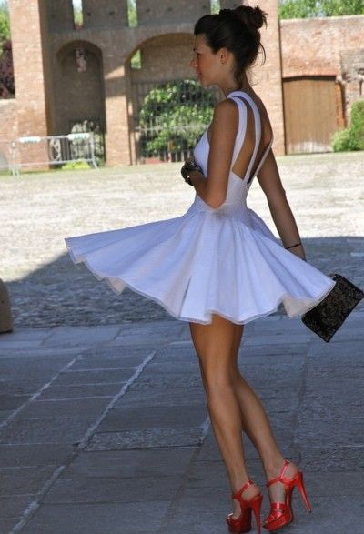 Love the dress! Flirty but not slutty. Pop of colour on the sole adds fun to the entire look.