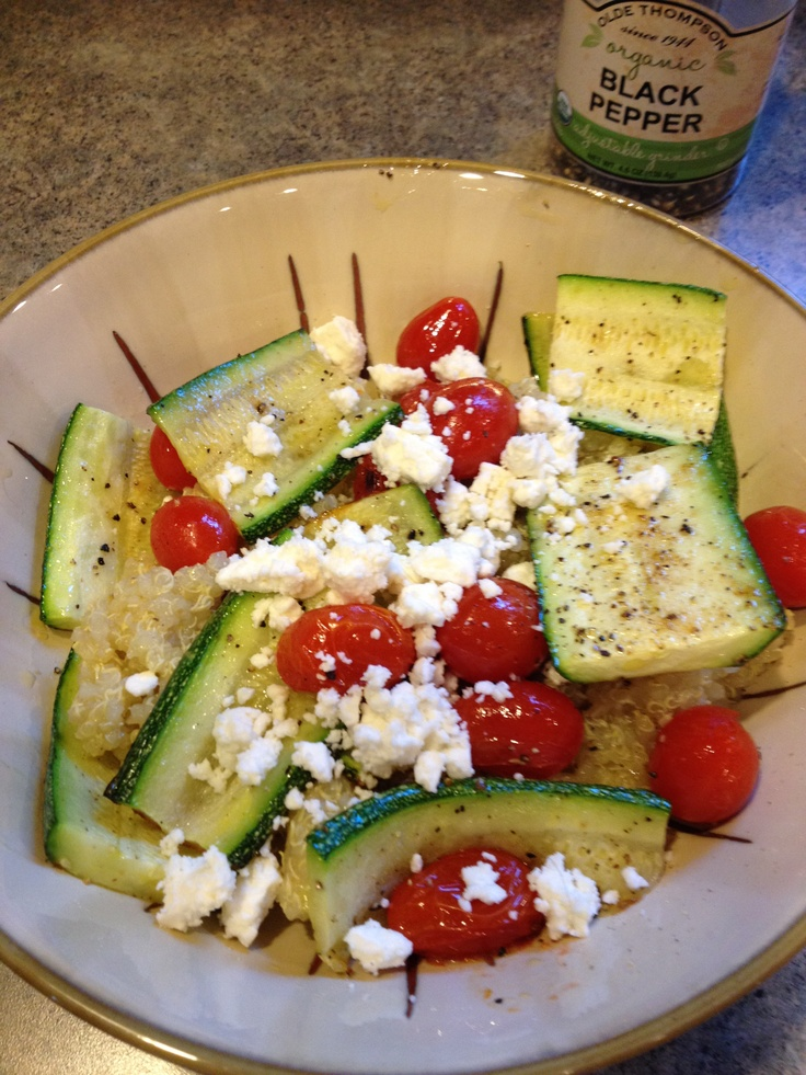 Grilled zucchini and cherry tomatoes with quinoa; yummy ...
