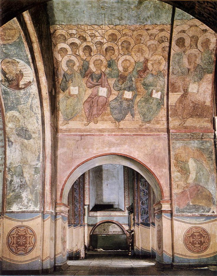 Страшный суд. Андрей Рублев. Трубящий ангел, пророк Исайя, апостолы и ангелы, видение пророка Даниила