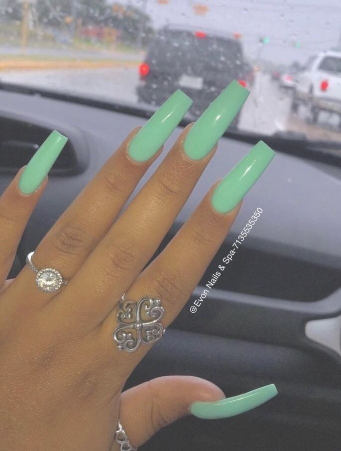Truubeautys Green Nails Square Acrylic Nails Best Acrylic Nails