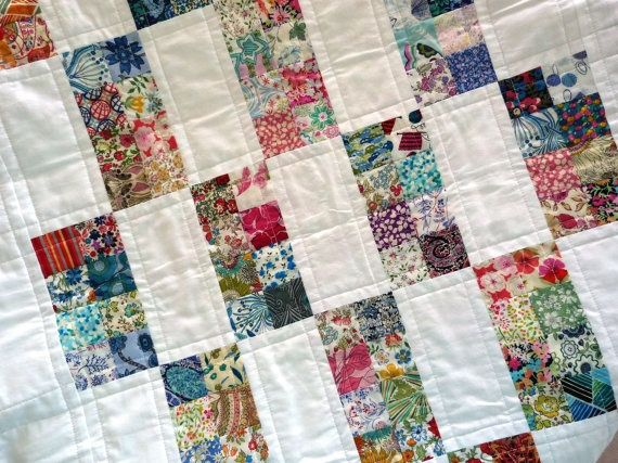 Patchwork Baby Quilt - Liberty of London tana lawn fabric - Baby, Cot…