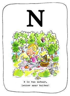 Alfabetkaart, N is van natuur- Greetz