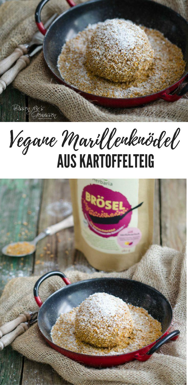 Rezept für vegane Marillenknödel mit Gewürzbrösel. Aus Kartoffelteig gemacht - sehr einfach und köstlich!