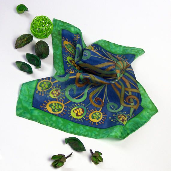 GREEN pocket square SILK Hand painted blue mens by SilkaShop