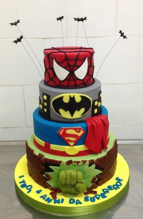 Super heroes Cake - by sweetlab @ CakesDecor.com - cake decorating website