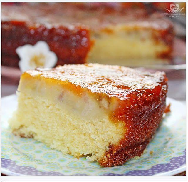 BOLO DE LARANJA E BANANA CARAMELADA DA AKEMI - As minhas últimas receitas de bolos tiveram como ingredientes principais as bananas encorporadas à massa. Porém o bolo de hoje foi coberto p...