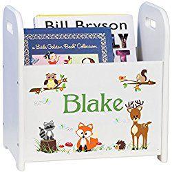 Personalized Child's Book Caddy Magazine Rack- Woodland Animals