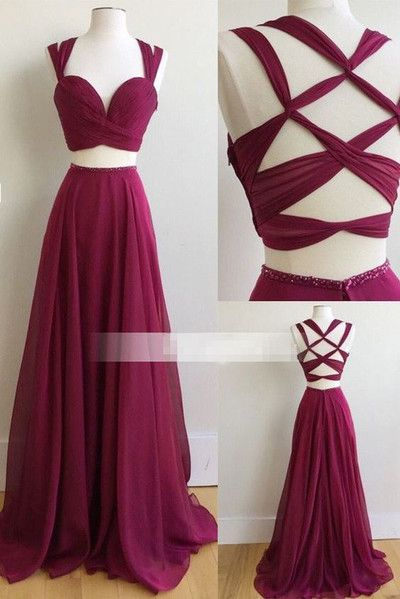 Two Piece Long Prom Dress, 2017 Burgundy Long Prom Dress, Formal Evening Dress ,329