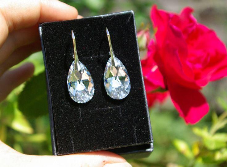 Swarovski Teardrop Earrings Crystal Leverback Wedding Silver Crystal Swarovski Earrings Teardrop Earrings Bridesmaid Crystal Earrings by AuroraCrystalPassion on Etsy
