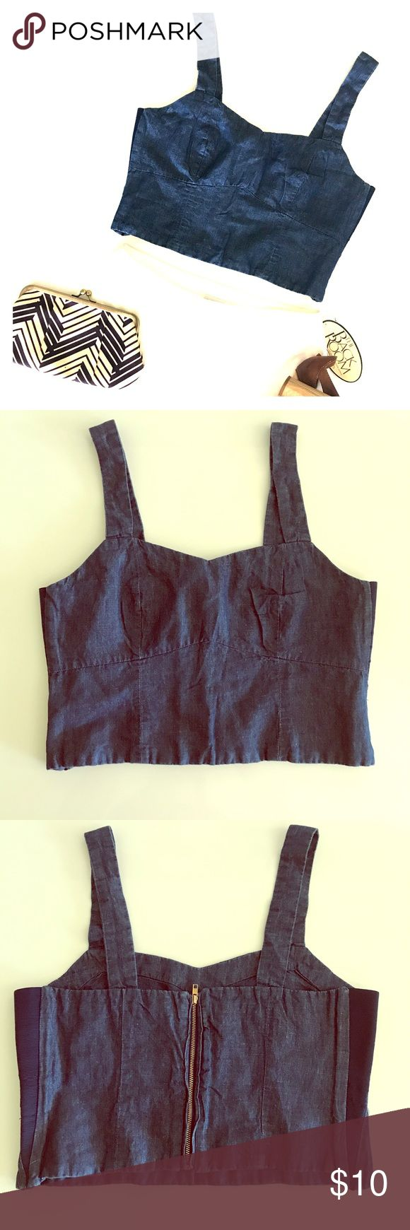 Zara Jean Cropped Top, Size Medium Zara Jean cropped top, size M, super cute on! Elastic sides for extra comfort 😊Wear it with jeans, shorts, Maxi skirt, anything!!! Gently worn, great condition. Zara Tops Crop Tops