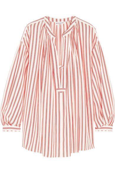 红色和白色真丝双绉  正面配有半开式单颗纽扣  100% 真丝  干洗