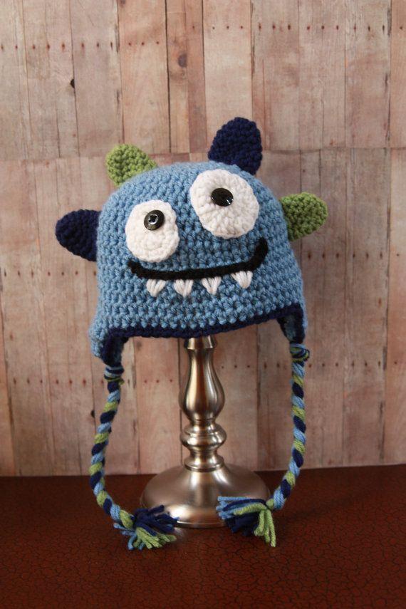 Happy Monster Hat Baby Boy Hat Crochet Boys Hat by CatilyCrochet