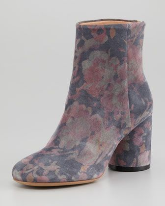 Floral-Print Suede Ankle Boot by Maison Martin Margiela at Neiman Marcus.