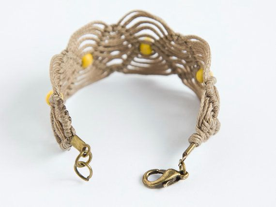friendship macrame cord bracelet with yellow by seventyandthree