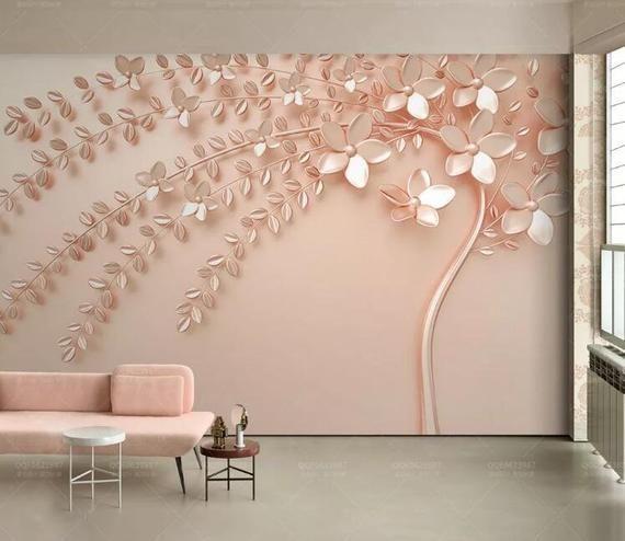 3d Pink Flower Tree L116 Wallpaper Mural Decal Mural Photo Etsy Bedroom Wall Art Adhesive Wall Art Mural Wallpaper