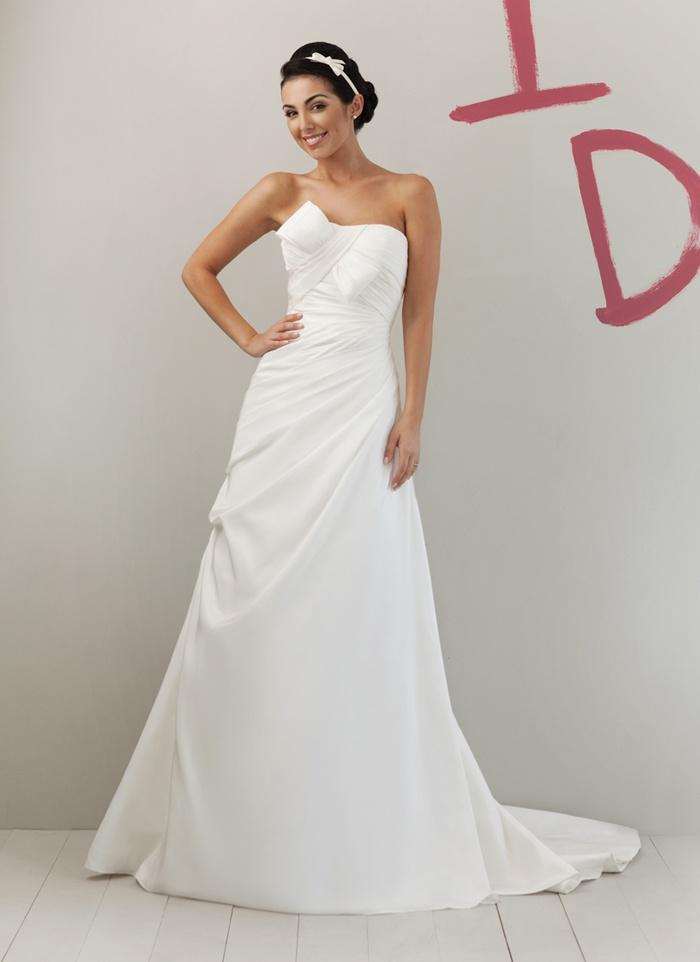 A-line Strapless Asymmetrically Draped Bodice Bow Detail Taffeta Wedding Dress-wa0357, $219.95