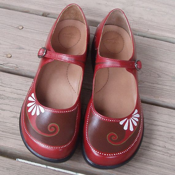 Daisy Janes hand painted red Danskos size 41 by wingtips on Etsy, $250.00