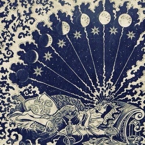 Månens faser. Drømmende stemning.   Inspiration til udsmykning af væggene i butikken
