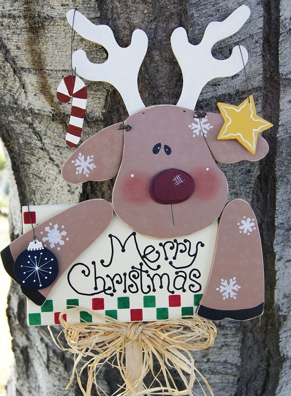 Merry Christmas Reindeer Yard Stick Rudolph Yard by Cherables