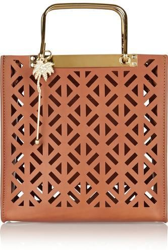 Square perforated leather tote #accessories #women #covetme #sophiehulme