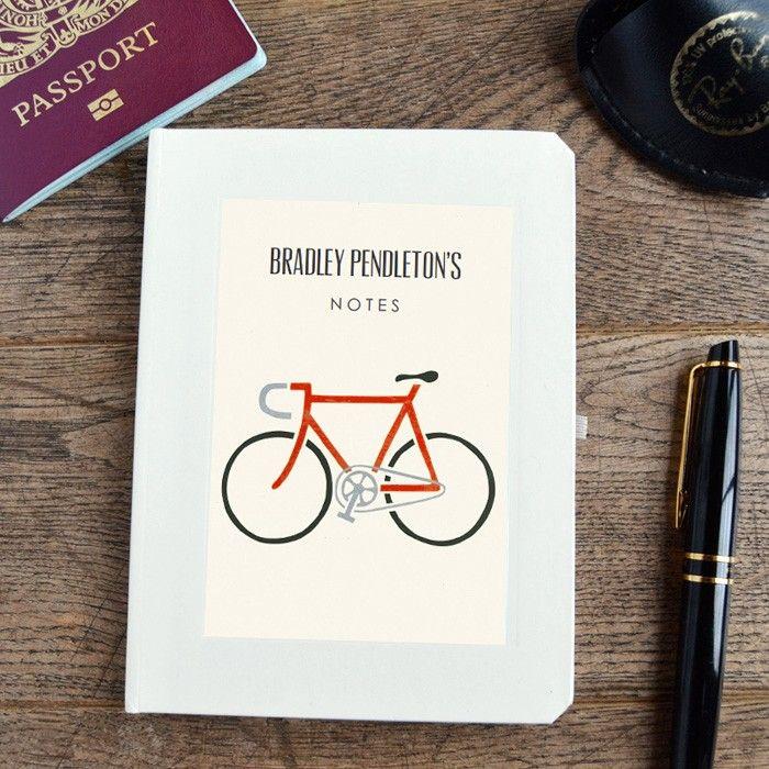 Personalised racing bike notebook from madebyellis.com