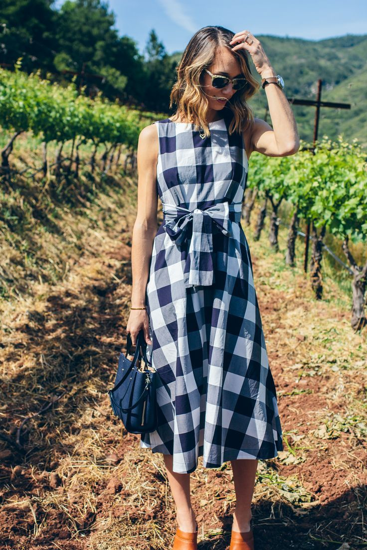 gingham wrap dress, mini bag — via @TheFoxandShe