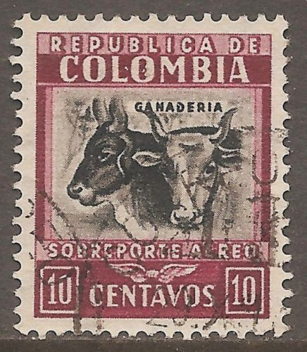 1932-Colombia-Air-Mail-Scott-C97-Cattle-10c-Lake-Black-Used