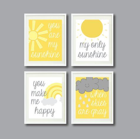 You Are My Sunshine-Set of Four Prints for Kids Room, Nursery, Home Decor-8×10 OR 11×14-White, Yellow and Grey/Gray OR Choose colors-4