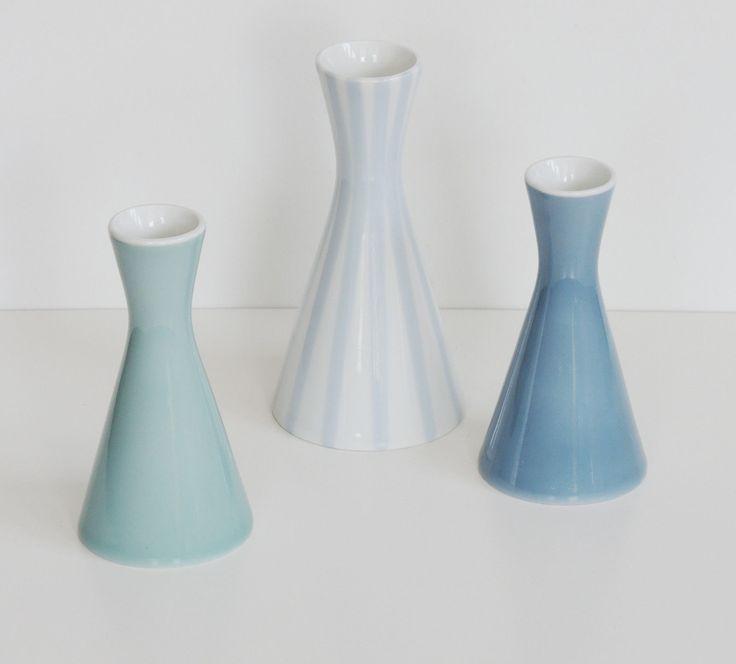heinrich löffelhardt 3x vase schönwald porzellan vasengruppe farbig 50er jahre