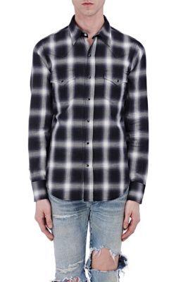 SAINT LAURENT Plaid Cotton Western Shirt. #saintlaurent #cloth #shirt