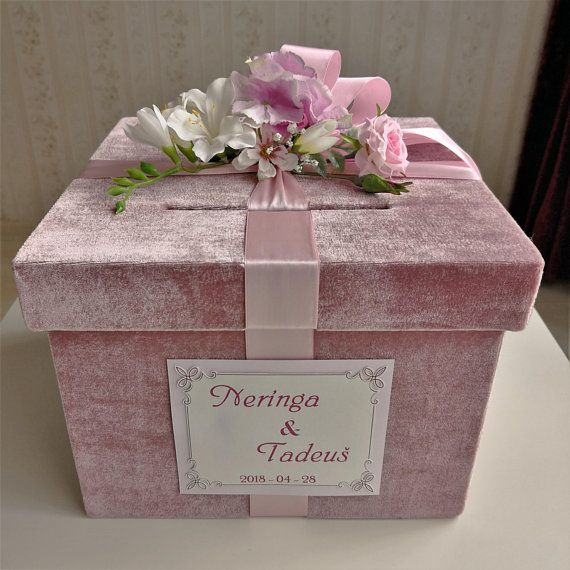 Pink Wedding Card Box Wedding Money Box Wedding Keepsake Box