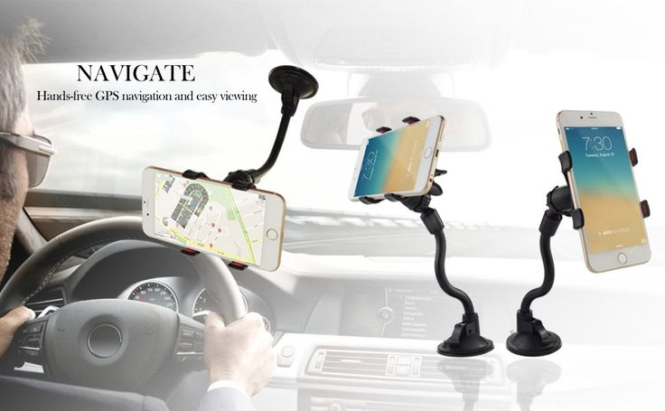 Car Mount, Ipow Long Arm Universal Windshield Dashboard Cell Phone Holder with Strong Suction Cup and X Clamp for iPhone 7 Plus 6 Plus 6S 5S SE Samsung Galaxy S6 S7 Edge 7 Nexus: Electronics