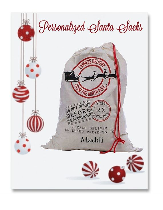 Personalized Santa Sacks for each of your children for their presents on Christmas morning! Thanks @TEXglitterGirl https://www.etsy.com/listing/239411221/personalized-santa-sack-santa-claus-bag?ref=shop_home_active_4