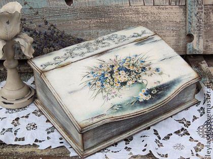 Купить короб зимой о лете - воспоминания о лете, зима, Декупаж, букет, цветы, секретер, короб