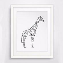 Geometrische ontwerp Giraffe Doek muur schilderen, wilde dieren tekening foto nursery decor, geen frame(China (Mainland))