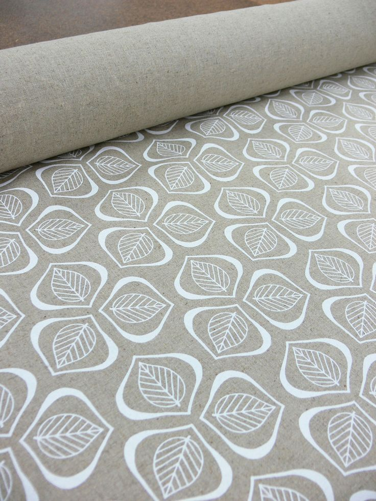 Image of 'Leaves' Hand Printed fabric by Mookah - in Chalk
