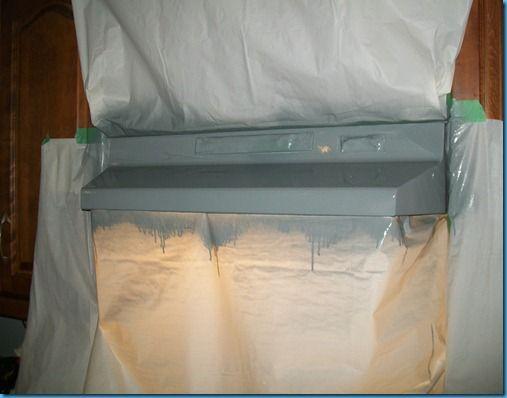 Spray paint range hood. I've always wondered if you can do ...