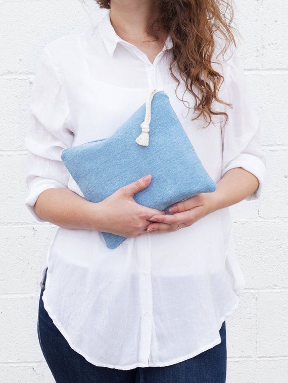 Denim clutch bag. Blue makeup bag. Fold over by DesignByRube