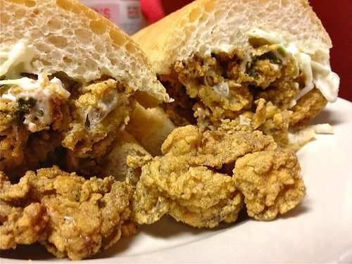 Looks like a fried oyster po-boy. New Orleans Saturday! I am ...