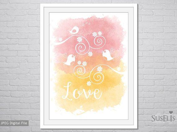 Bird Watercolor wall art Watercolor Print Pink Yellow by Suselis