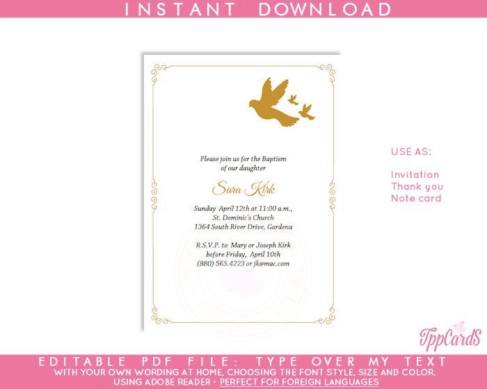 Instant Download 4x6 Gold Dove Baptism Invitations, DIY Editable Pdf, First Communion Invitations, Gold Dove Confirmation Invites AUTOFILL by TppCardS on Etsy