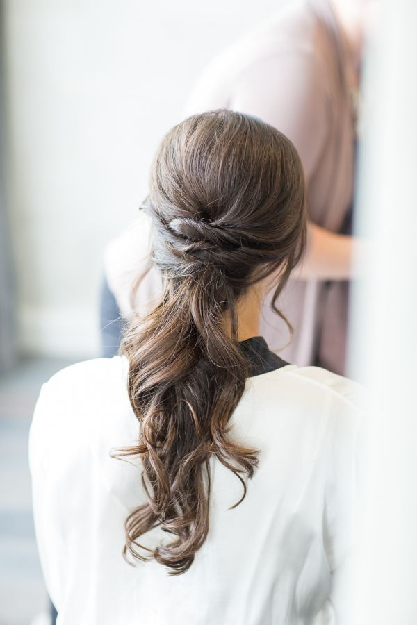 Twisted low ponytail: http://www.stylemepretty.com/tennessee-weddings/nashville/2016/01/14/rustic-elegant-fall-wedding-at-cedarwood/ | Photography: Kelsey Combe - http://kelseycombe.com/#!/HOME