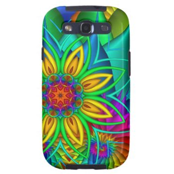 Samsung case with original fractal flower art in bright colors.