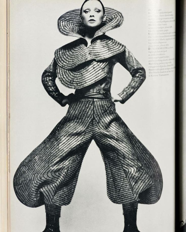 Kansai Yamamoto Harpers & Queen July 1971. Learn about Yamamoto and more of David Bowie's favourite fashion designers in this essay by @paul_g0rm4n author of The Look. http://ift.tt/1MGXGUG by showstudio
