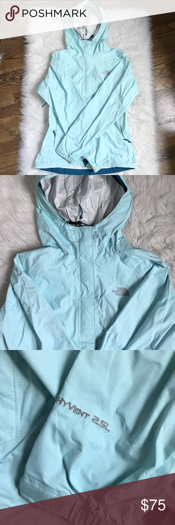 Light Blue North Face Rain Jacket North Face shell. Only worn 2-3 times. Not sure where the faint stain above the logo came from. I haven't tried to remove it b/c I only noticed it while photographing. Rare color. Retail: $99. North Face Jackets & Coats