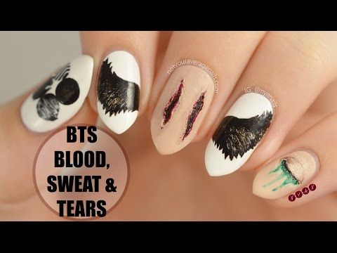 "BTS ""Blood Sweat & Tears"" Nail Art Tutorial - YouTube"