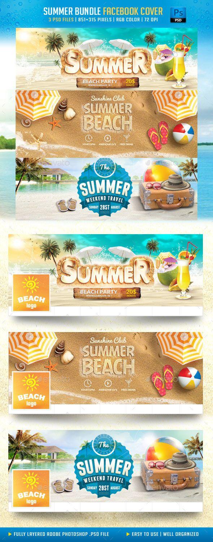 Summer Bundle Facebook Cover Template PSD #design Download: http://graphicriver.net/item/summer-bundle-facebook-cover/11858610?ref=ksioks