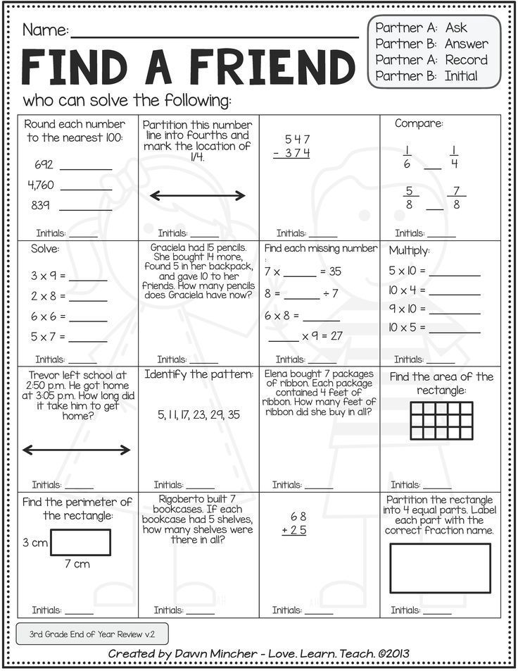 Back to School Math Activities | 4th Grade (3rd Grade Review ...