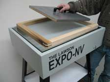 Screen Printing Exposure Unit; instead of vacuum-back, use a piece of wood that fits inside the screen... add a handle for ease of use, and maybe a layer of felt underneath?