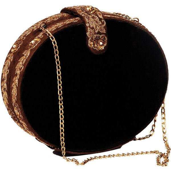 Round Vintage Clutch-Zardozi Hand Embroidery featuring polyvore, fashion, bags, handbags, clutches, clutches / wallets / purses, vintage black handbag, vintage clutches, embellished handbags, round handbag and velvet handbag